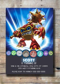 Skylander Wham Shell Party Invitation Inspired by PortlyBallerina, $10.00
