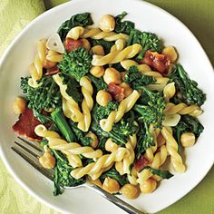 Gemelli with Broccoli Rabe, Bacon, and Chickpeas - 5-Ingredient Pantry Recipes - Cooking Light
