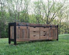 Rustico Industrial Vanity Reclaimed Barn Wood Vanity w/ Sliding Doors