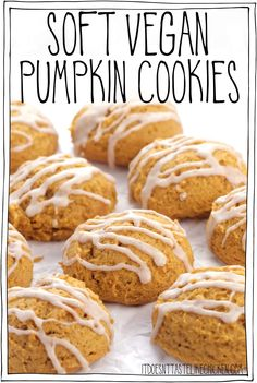 Soft Vegan Pumpkin Cookies with pumpkin spice icing are every bit as delicious as they sound! These old fashioned cookies are super soft and cakey, almost like the top part of a cupcake more than a traditional cookie. They are easy to make and freeze beautifully. #itdoesnttastelikechicken #veganrecipes #veganbaking Vegan Pumpkin Cookies, Pumpkin Spice Cake, Pumpkin Dessert, Pumpkin Pancakes, Best Vegan Cookies, Pumpkin Puree Recipes, Vegan Dessert Recipes, Vegan Cookie Recipe, Easy Desserts