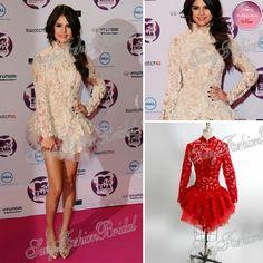 Selena gomez 2013 chaude robe col haut top see- grâce à manches longues mini. court. soir, tapis rouge de bal robes de soirée célébrité