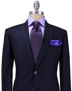 Brioni Charcoal Windowpane Suit: