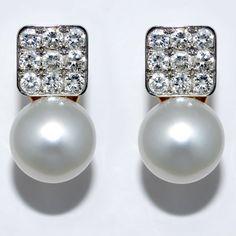 Pendientes de oro blanco con diamantes y perlas australianas.