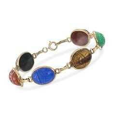 """C. 1960 Vintage Multicolored Carved Scarab Bracelet in 14kt Yellow Gold. 7.25"""""""