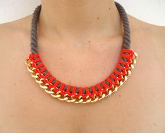 Neon Red Orange/Taupe Bib Rope and Chain by CreationsByAlina, $29.00