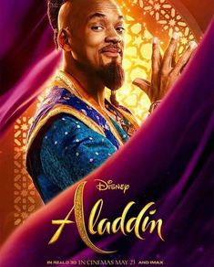 Disney has released a stylish IMAX poster for the upcoming live-action remake of Aladdin, and it gives us new looks at The Genie, Princess Jasmine, Jafar and Aladdin himself. Aladdin Film, Disney Aladdin, Watch Aladdin, Genie Aladdin, Disney Live, Guy Ritchie, Disney Films, Disney Pixar, Movies 2019