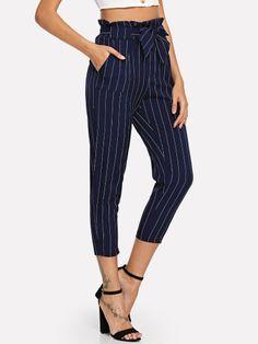 Ruffle Waist Self Tie Capri Pants -SheIn(Sheinside) Cropped Pants, Wide Leg Pants, Capri Trousers, Culotte Pants, Hoodies For Sale, Type Of Pants, Faux Leather Pants, Rolled Hem, No Frills