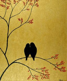true love birds like to sit in trees and snuggle I would love to have this as a tattoo Art And Illustration, Bird Artwork, Artwork Ideas, Canvas Art, Canvas Paintings, Diy Canvas, Easy Paintings, Silhouette Painting, Pallet Art
