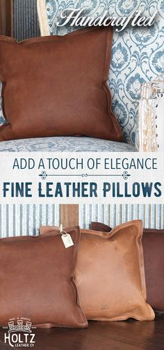 $98 - The Adelaide Fine Leather Pillow embodies comfort and simplicity.  This pillow is made with a comfortable poly-fill insert, smooth full grain american leather, and no uncomfortable zipper.  The Adelaide has that cozy leather smell and only gets better with time.