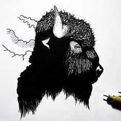 American Bison, micron and brushpen #wip. Song for the night is Spitting Fire by The Boxer Rebellion. Have a great night, everyone!  • • • • • • #illustration#design#art#creatives#blackwork#linework#wildlife#bison#horns#outdoors#animalart#natureinspired#dotwork#sketch#doodle#instaart#tattoo#flash#vsco#creativity#micron#brushpen#beautiful#graphicdesign#drawing#handdrawn#dailydrawing#sketchbook