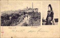 Ansichtskarte / Postkarte Wyk auf Föhr in Nordfriesland, Blick auf die Strandhalle, Frau in Tracht #Foehr