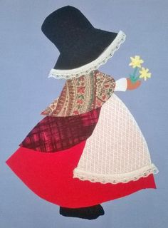 Sunbonnet Sue, Iron On Embroidery, Machine Embroidery Applique, Applique Quilts, Quilt Patterns Free, Applique Patterns, Applique Designs, Felt Patterns, Thinking Day