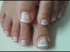 LINDAS UNHAS DECORADAS PARA OS PÉS - YouTube Pretty Toe Nails, Sexy Nails, Pretty Toes, Pedicure Designs, Toe Nail Designs, French Pedicure, Manicure And Pedicure, Nail Art Pieds, Bubble Nails