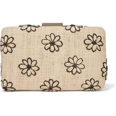 Kayu Daisy embroidered woven straw clutch (11.260 RUB) ❤ liked on Polyvore featuring bags, handbags, clutches, beige, woven handbags, embroidered purse, beige clutches, embroidered handbags and embroidery purse