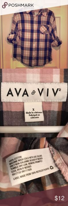 Target Ava & Viv Plaid Button Down Flannel size X Worn Once! Smoke Free home!  100% cotton plaid shirt from Target's plus size brand Ava & Viv.  The X size on target.com says it is a 14W, bust 41 and waist 36. It's not a tunic length, a little shorter. I'm a regular large in Merona or an XL in Mossimo and this shirt fit me perfect, was just a little short for my liking. Ava & Viv Tops Button Down Shirts