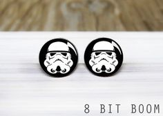 Storm Trooper Earring Studs   Star Wars Earrings  by 8BitBoom