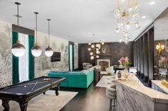 THE BALLROOM — Margaret Josephs Bubble Chandelier, Gold Chandelier, Room Wallpaper, Wallpaper Ideas, Dal Tile, Motorized Shades, Large Sectional, Stone Slab, Bar Areas