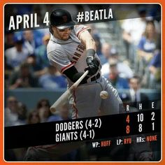 4/4/14  Giants 8, Dodgers 4. *Puig was benched for arriving 15 minutes late to the stadium. Thanks Puig!
