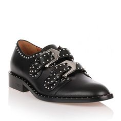 Givenchy Black Leather Studded Flat ($720) ❤ liked on Polyvore featuring shoes, flats, black, kohl shoes, black flat shoes, flat shoes, black shoes and black studded shoes