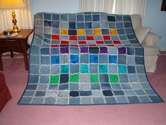 Denim quilt | Denim rag quilt with flannel squares. Did fini… | Flickr