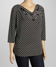 Look what I found on #zulily! Brown & Teal Polka Dot Necklace Top - Plus #zulilyfinds
