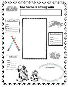 Star Wars themed all about me poster would make a great addition to your Star Wars themed classroom. This would be a fun back to school…