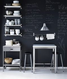 Minimal and compact kitchen design with chalkboard wall // I would never stop writing in there!