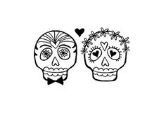 Wedding Bride and Groom Sugar skull rubber stamp by terbearco, $39.99 - favors. coasters!!