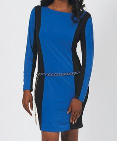 Another great find on #zulily! Royal Blue & Black Color Block Belted Sheath Dress by Design 26 #zulilyfinds