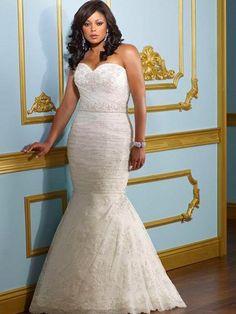 Vestido de novia para gorditas corte sirena strapless corazón