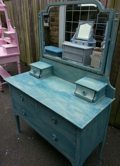 """Edwardian Dressing Table painted in Vintro Chalk Paint """"old lace"""" with wash of """"French navy"""". Contact sales@vintro.co.uk for information on furniture and paint."""