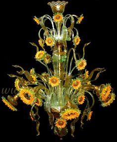 Murano chandelier Sunflower Van Gogh - Made on the island Murano outside Venice - http://www.venicearte.com/en/