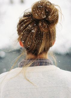 Snow in the hair... looks so perfect right now but reminds me of miserable cold snowy mornings after 5:30 AM practices...