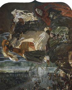 Мир Врубеля. Полет Фауста и Мефистофеля. 1896  Это изображение входит в цикл панно, исполненных для готического кабинета А.В. Морозова в Москве.