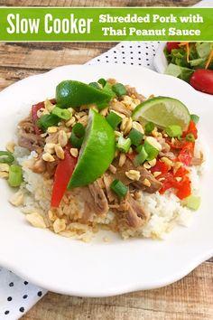 Slow Cooker Shredded Pork with Thai Peanut Sauce from 5DollarDinners.com