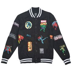 BAIT x Marvel Men Classic Uni Jacket (Black) Source by wheelerrp Kentucky Derby, Black Avengers, Marvel Jacket, Varsity Jacket Outfit, Leather Varsity Jackets, Marvel Fashion, Marvel Clothes, Avengers Clothes, Man Thing Marvel