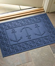 Another great find on Navy Three Anchors Aqua Shield Doormat by Bungalow Flooring