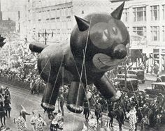 NY Times article on history of balloons in the Macy's parade, here Felix the Cat