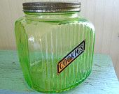 Depression Glass Cookie Jar / Green Depression Glass / 1930s / Hoosier Glass / Antique Cookie Jar / With Cookie Label / With Lid