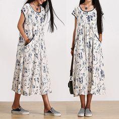 Loose Fitting Cotton And Linen Long Shirt Blouse for Women Short Sleeved Women Clothing - Women Dress