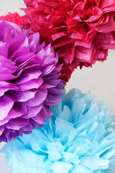Colorful tissue paper pompoms.