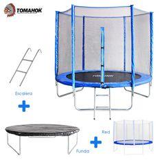 Cama elástica de la marca Tomahok con un diámetro de 1,85 m. Soporta un peso máximo de 100 Kg, ideal para que los más pequeños de la casa se diviertan.