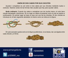 #ConocimientosMarineros.La Secretaría de Marina te muestra como unir dos cabos por sus chicotes con un nudo Ordinario