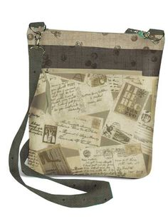 "This fat quarter friendly bag has a long cross-body strap, easy zipper top closure and lots of pockets! It has a total of 6 pockets: 4 outside (including 1 zippered cell phone pocket), and 2 inside. Finished size is 10 1/2""W x 10""L x 2""..."