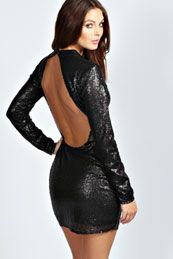 Roberta High Neck Cut Out Back Sequin Body Dress