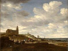 """Salomon Jacobsz. van Ruysdael (1600-1670). Opvallend op dit schilderij uit 1665 is de toren van de """"Oude Kerk"""" van Scheveningen."""