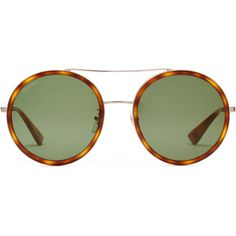 Gucci Round-Frame Sunglasses ($400) ❤ liked on Polyvore featuring accessories, eyewear, sunglasses, gold, women, green lens sunglasses, rimmed glasses, round tortoiseshell sunglasses, tortoiseshell glasses and tortoise shell sunglasses