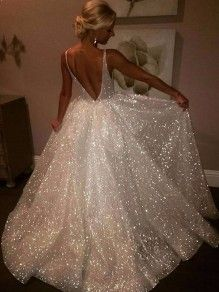 5f8436cac82 White Simple Sequin Glitter Double Deep V-neck Backless Party evening Maxi  Dress Prom Dresses