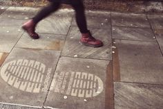 """Jack Agency is making their mark throughout London with their latest clean graffiti ambient campaign for Dr Marten shoes. To promote Dr Martens """"what do Guerrilla Advertising, Advertising Space, Creative Advertising, Viral Marketing, Guerilla Marketing, Marketing And Advertising, Reverse Graffiti, Creative Communications, Funny Ads"""
