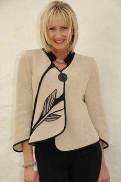 Tivoli black/biege knit leaf jacket.3287b